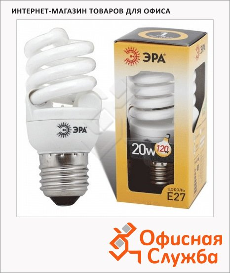 Лампа энергосберегающая Эра Т2 11(60)Вт, Е27, мягкий желтый