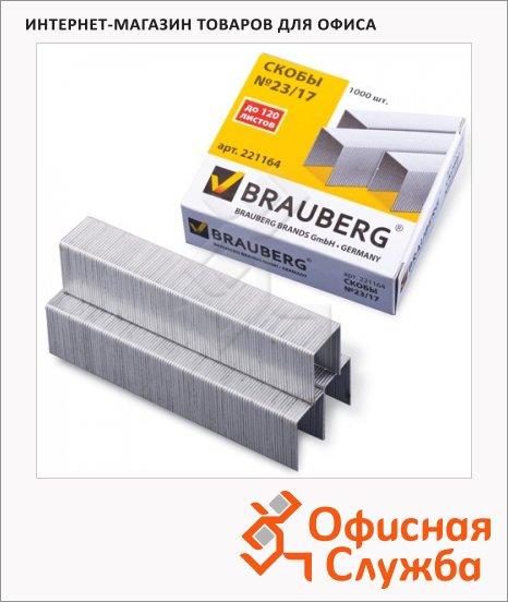 фото: Скобы для степлера Brauberg №23/17 оцинкованные, 1000 шт