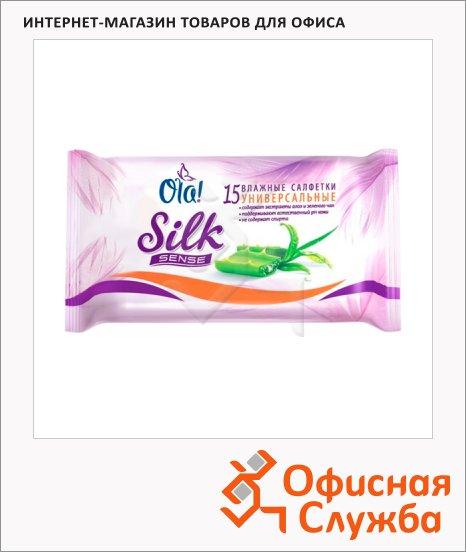 фото: Салфетки влажные Ola! Silk Sense антибактериальные 15шт, 01042