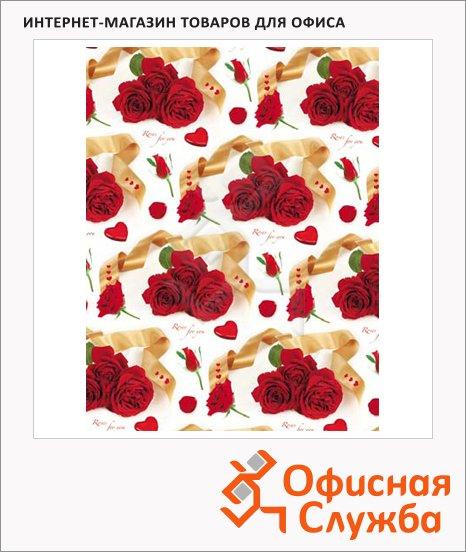 Бумага упаковочная декоративная 70х100см, розы. сердечки