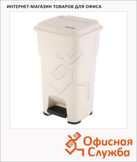фото: Контейнер для мусора Vileda Pro Гера 60л с педалью и крышкой, бежевый, 137756