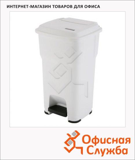 фото: Контейнер для мусора Vileda Pro Гера 60л с педалью и крышкой, белый, 137757