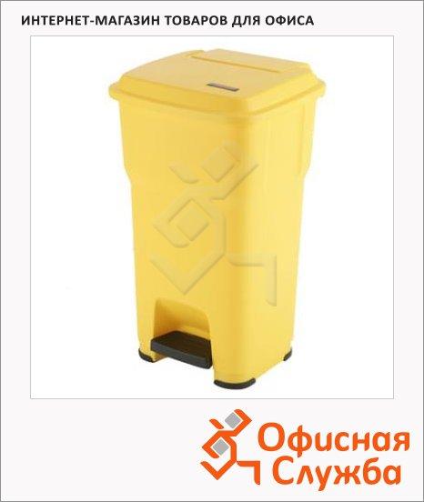 фото: Vileda: Гера контейнер пластиковый с педалью и крышкой, желтый