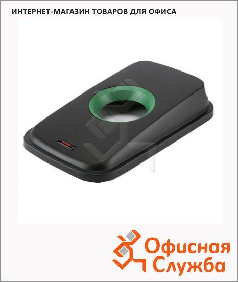 Крышка для контейнера Vileda Pro Гея 55/70л, с отверстием для бутылок, черный/зеленый, 137734
