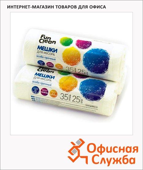 фото: Мешки для мусора Fun Clean Особо прочные 35л 12мкм, белые, 25шт/уп