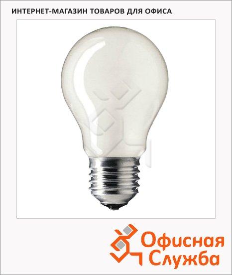 фото: Лампа накаливания Philips A55 FR 75Вт E27, 2700К, теплый белый свет, груша