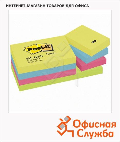 Блок для записей с клейким краем Post-It 653-TFEN 4 цвета, 38x51мм, 12х100л