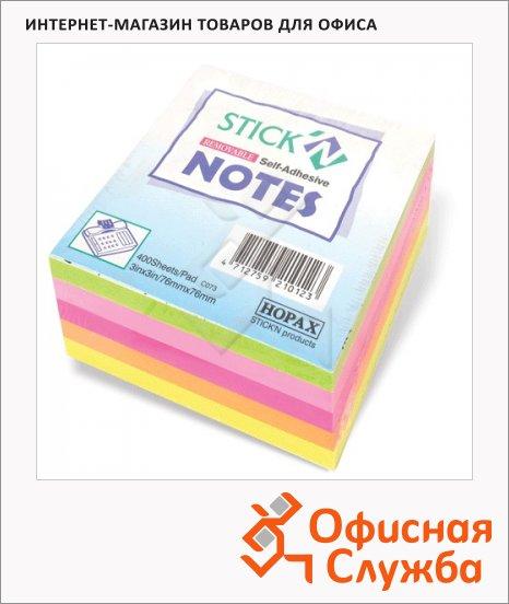Блок для записей с клейким краем Stick'n 5 цветов, неон, 76х76мм, 400 листов