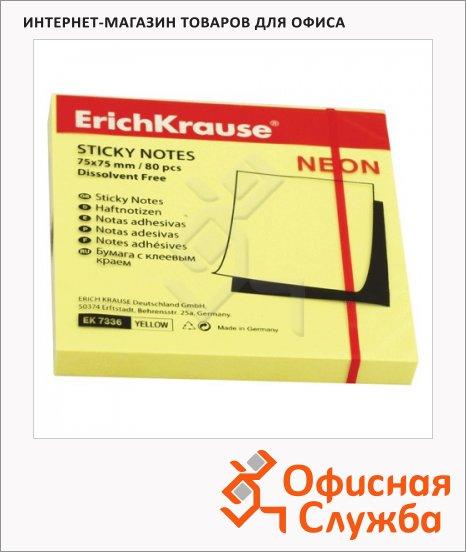 Блок для записей с клейким краем Erich Krause желтый, неон, 75х75мм, 80 листов