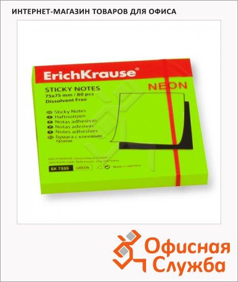 Блок для записей с клейким краем Erich Krause зеленый, неон, 75х75мм, 80 листов