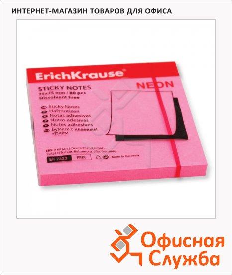 Блок для записей с клейким краем Erich Krause розовый, неон, 75х75мм, 80 листов