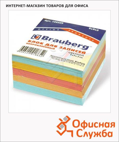 фото: Блок для записей непроклеенный Brauberg 3 цвета 90х90х50мм