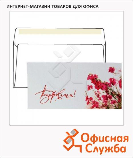 Конверт почтовый С6/С5 цветочный принт, 114х229 мм, 130г/м2, Поздравляем, стрип