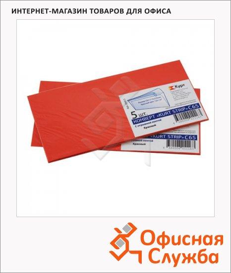 Конверт почтовый Курт С65 красный, 114х229мм, 120г/м2, 5шт, стрип