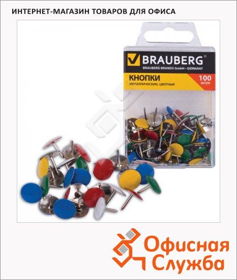 фото: Кнопки канцелярские Brauberg 10мм 100шт/уп, металл. цветные