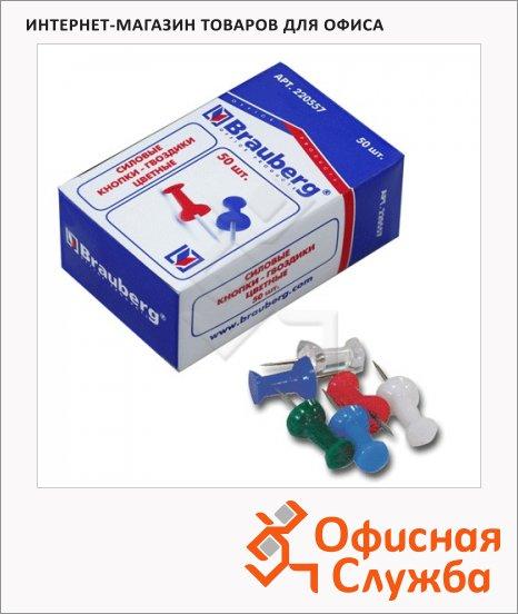 Кнопки для пробковых досок Brauberg цветные, 50 шт/уп, гвоздики, в карт. коробке