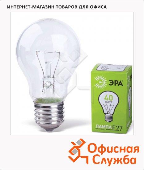 фото: Лампа накаливания Эра 40Вт Е27, теплый белый свет, груша, 2700К