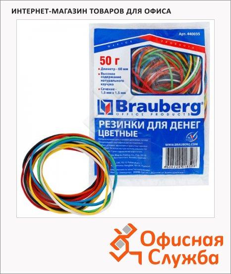 фото: Резинки для денег Brauberg 60х1.5мм 50г, разноцветные, 90шт