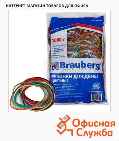 Резинки для денег Brauberg 60x1.5мм, 1кг, разноцветные, 1800шт
