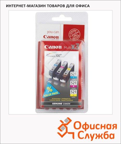 Картридж струйный Canon CLI-521, 3 цвета, (2934B010), 3шт/уп