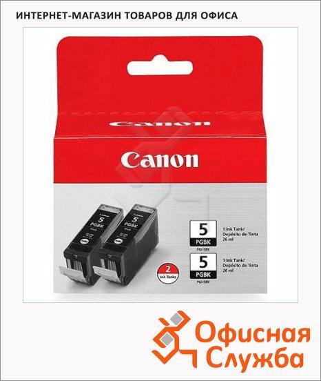 Картридж струйный Canon PGI-5BK, черный, 2шт/уп, (0628B030)