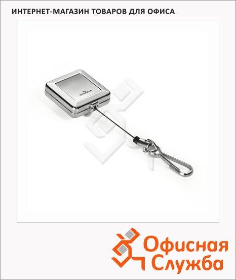 фото: Держатель-рулетка для бейджа Durable Chrome Quadro с клипом серебристый, 80см, на карабине, 8328-23
