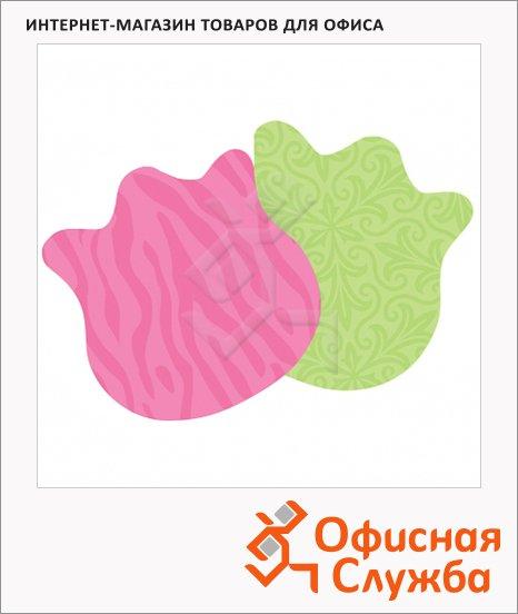 фото: Блок для записей с клейким краем Post-It Super Sticky Цветы 2 цвета неон, 80х80мм, 150 листов, фигурный, 7350-DSY