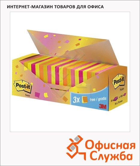 Блок для записей с клейким краем Post-It Classic 5 цветов, неоновая радуга, 76x76мм, 24х100 листов, CP654-NP24