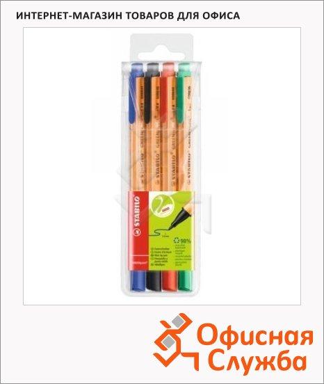 Линер Stabilo GreenPoint 4 цвета, 0.8мм, 4шт