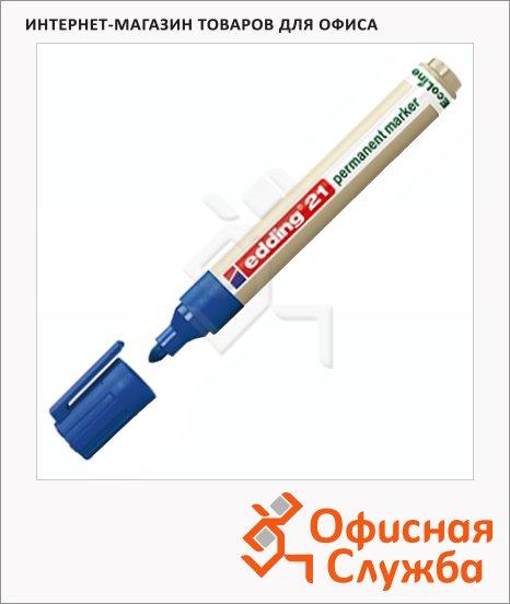 Маркер перманентный Edding ECO 21 синий, 1.5-3мм, круглый наконечник, универсальный, без запаха