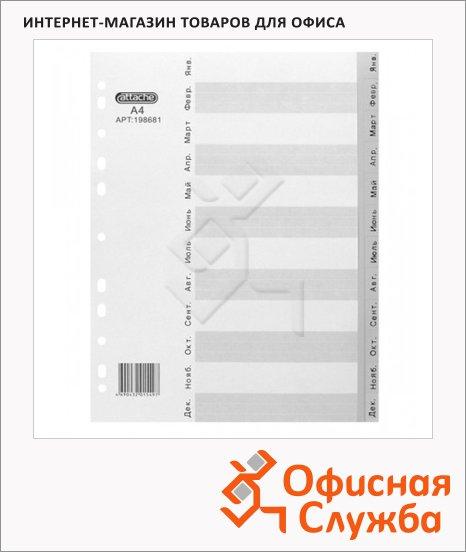 Буквенный разделитель листов Attache 12 разделов, А4, по месяцам Янв-Дек