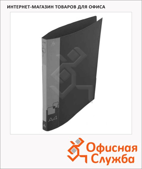 фото: Папка на 2-х кольцах А4 Бюрократ черная 18 мм, 0818/2Rblck
