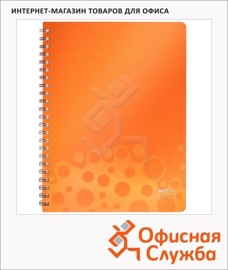 Тетрадь общая Leitz Bebop оранжевый, А4, 80 листов, в линейку, на спирали, пластик, 45710045