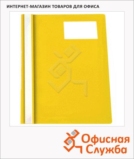 фото: Скоросшиватель пластиковый Бюрократ с карманом для визитки желтый А4, PS-V20YEL