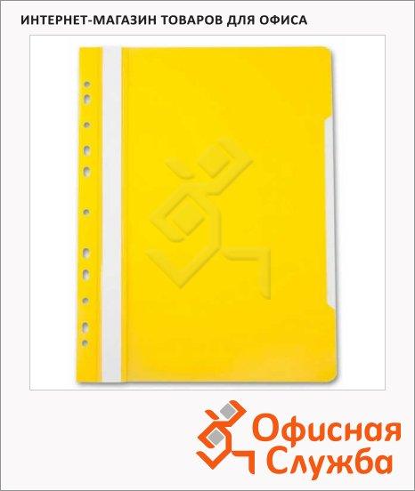 Скоросшиватель с перфорацией Бюрократ желтый, А4, PS-P20YEL