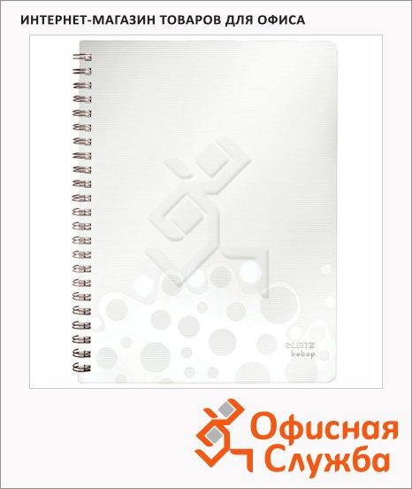 Тетрадь общая Leitz Bebop белая, А4, 80 листов, в клетку, на спирали, пластик, 45730001
