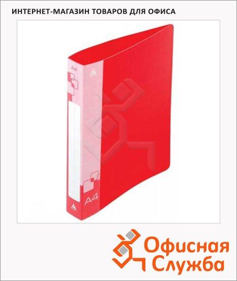 Папка пластиковая с зажимом Бюрократ красная, А4, 0.5мм, PZ05CRED