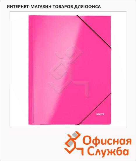 фото: Картонная папка на резинке Leitz WOW розовая А4, до 250 листов, 39820036