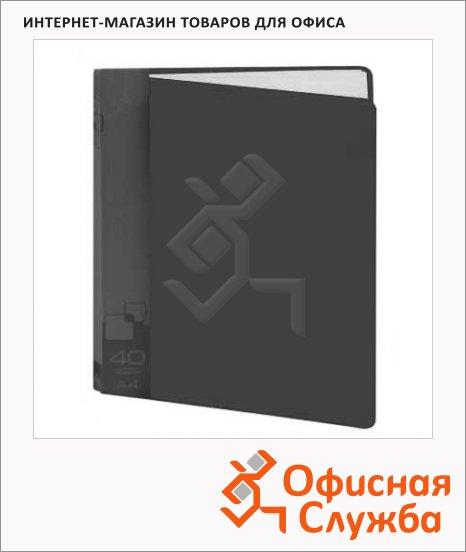 Папка файловая Бюрократ черная, А4, на 40 файлов, BPV40BLCK