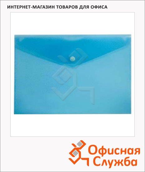 фото: Папка-конверт на кнопке Бюрократ синяя 250х130мм, PK805ABLU