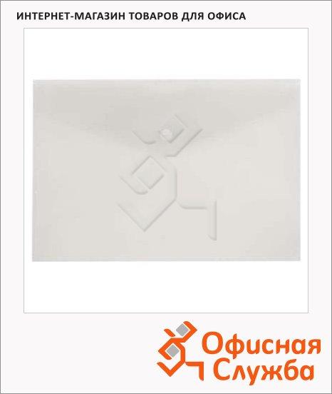 Папка-конверт на кнопке Бюрократ прозрачная, 250х130мм, PK805ACLEAR