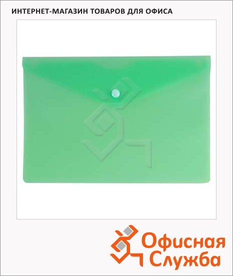 фото: Папка-конверт на кнопке Бюрократ зеленая 250х130мм, PK805АGRN