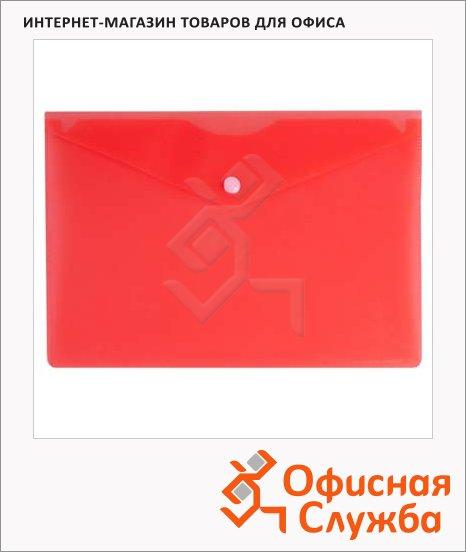фото: Папка-конверт на кнопке Бюрократ красная 250х130мм, PK805ARED
