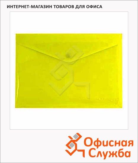 фото: Папка-конверт на кнопке Бюрократ желтая непрозрачная А4, PK803ANYEL