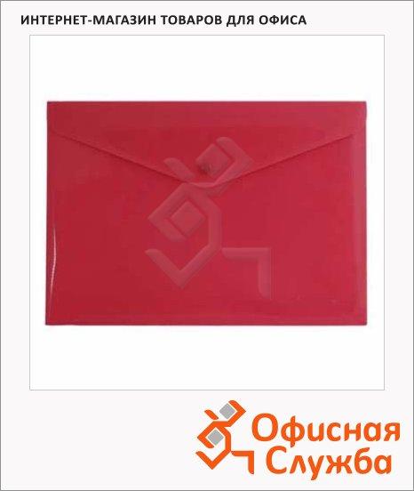 фото: Папка-конверт на кнопке Бюрократ красная непрозрачная А4, PK803ANRED