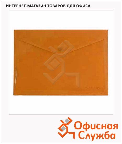 Папка-конверт на кнопке Бюрократ оранжевая непрозрачная, А4, PK803ANOR