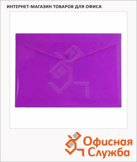 фото: Папка-конверт на кнопке Бюрократ фиолетовая непрозрачная А4, PK803ANVIO