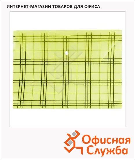 фото: Папка-конверт на кнопке Бюрократ Клетчатая желтая А4, PK801АYEL
