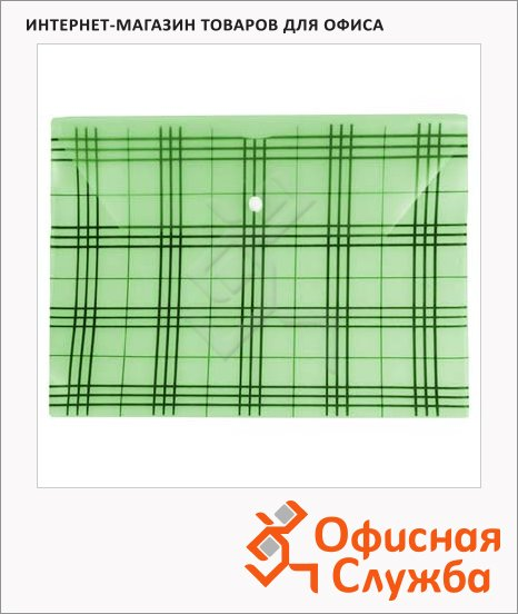 Папка-конверт на кнопке Бюрократ Клетчатая зеленая, А4, PK801АGRN