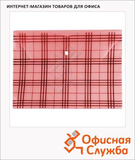 фото: Папка-конверт на кнопке Бюрократ Клетчатая красная А4, PK801АRED